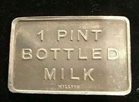 1 Pint Bottle Milk Millers Peter Sunderland Narrabri Phone 498 Token UNC