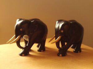 Vintage X2 Solid Ebony Wooden Carved Elephants.