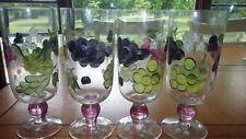 Hand Painted Ice Tea Goblets Glasses Stems Grape VIne Design 4 20 oz NWT glasses