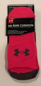 UNDER ARMOUR Run Cushion No Show Tab Socks Pink 1312532 Men's Size Med