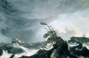 Oil painting ludolf backhuysen - ships in distress in a heavy storm seascape art