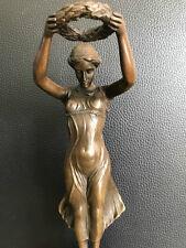 Bronzefigur Antik Stil Lorbeerkranz Die Ehrung Bronzesockel Signiert Milo 30 cm