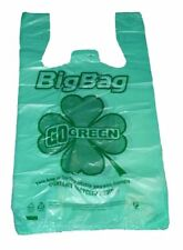 "200 pcs Green Bio-Degradable Plastic T-Shirt Bags 11.5"" x 6.5"" x 21"""