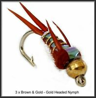 3 x Brown and Gold Trout Flies - size 10, 12 or 14 Hooks