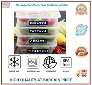 Meal Prep Food Containers Plastic Takeaway Microwave Storage Freezer Boxes LIDS