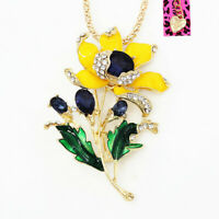 Betsey Johnson Yellow Enamel Crystal Flower Pendant Charm Necklace/Brooch Pin