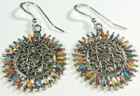 """925 STERLING SILVER NEEDLEPOINT SPINY OYSTER MOP TURQUOISE  1 5/8"""" HOOK EARRINGS"""