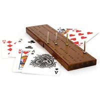 Toyrific Wooden Cribbage Board & Playing Cards, Traditional Card Game Set, Games