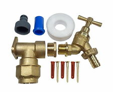 25mm MDPE Outside Tap Kit With Brass Wall Plate Elbow & Garden Hose Pipe Fitting