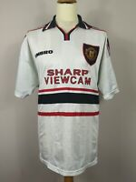 Manchester United 97/99 Umbro Away Football Shirt White XXL Vintage Soccer