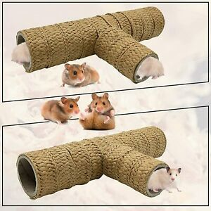 Hamster & Gerbil Tunnel 3 Way Natural Straw Activity Chew Toy Exercise Tunnel