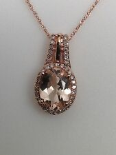 10K Rose Gold Oval Shape Morganite and 0.15ct twt Diamond Pave Pendant New