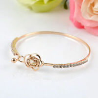 Fashion Elegant Women Girl Crystal Rose Flower Bangle Cuff Bracelet Jewelry Gold