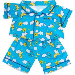 16 inch Blue Flannel Pyjamas - sun star moon - teddy bear stuffed animal clothes