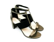 Nine West Heeled Sandal Womens Size 12 Black Bronze Metalic Ankle Strap Norvella