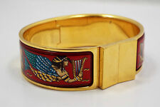Hermes Gold Plated & Enamel Hinged Bangle Bracelet, Egyptian theme