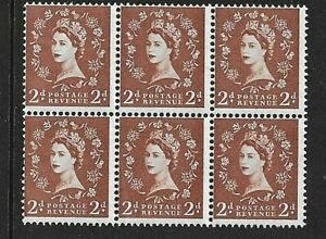 GB  QEII 1958 - 2d Red Brown - Wilding Definitive  BLOCK OF 6 - SG 573 - MNH