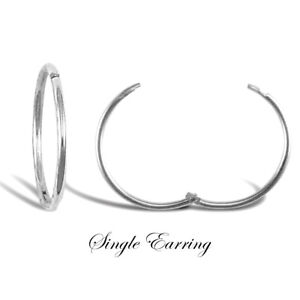 "9ct White Gold Hinged Sleeper Hoop Earring       ""SINGLE""         12mm 14mm 16mm"