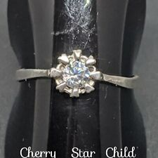 Solid sterling 925 silver ring cubic zirconia solitaire size 7