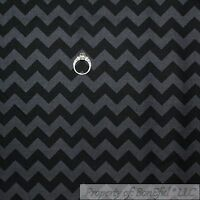 BonEful Fabric FQ Cotton Quilt Black Gray Tone Tonal Chevron Stripe Rick Rack US