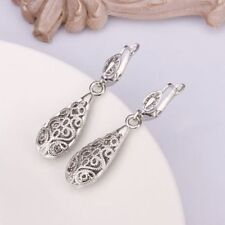 Antique Style Stunning 18K White GOLD Filled Filigree Drop Elegant Earrings