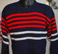 Vtg Le Tigre Acrylic Sweater Crew Neck Stripes Mens Medium Navy Red white  L5A