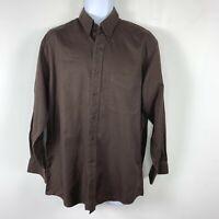 Jos A Bank Mens Shirt Sz M Brown 100% Cotton Long Sleeve Button Front VK7
