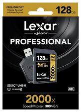 Lexar 128GB 2000x Professional SDXC UHS-II U3 Class 10 Card & UHS-II USB Reader