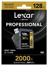 Lexar 128GB 2000x Profesional SDXC UHS-U3 clase 10 Tarjeta & II UHS-Lector USB II