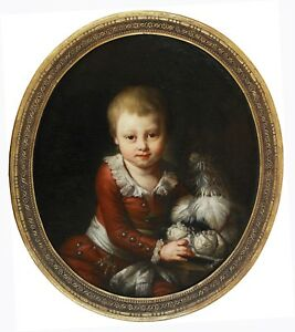 Antique 18C French Old Painting Attr. Monique Daniche : Portrait of Noble Child