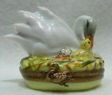 Limoges France Rochard Trinket Box, Swan On Nest With Young, Mint!