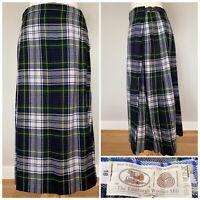 Vtg EDINBURGH WOOLLEN MILL Blue Green Tartan  Kilt Skirt Ladies Pure Wool UK 14