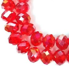 6x4mm AB Siam Ruby Glass Quartz Faceted Rondelle Beads 16""