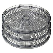 """3x Round Food Dehydrator Add-On Tray Adjustable Height 13"""" diam Stacking Trays"""