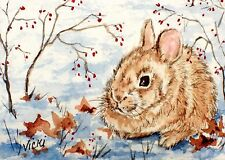 Baby Bunny, Cottontail, Rabbit, Winter, Snow, Wildlife, Nature,  ACEO  by Vicki