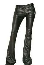 GORGEOUS NWT $5,020 BLACK BALMAIN FLARED LEATHER PANTS