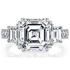 Asscher, Round & Trapezoid Diamond Engagement Ring 2.25 CTW GIA Certified 18K