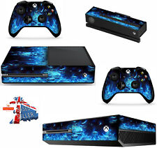 BLUE FLAMED SKULL XBOX ONE *TEXTURED VINYL ! * PROTECTIVE SKIN DECAL WRAP