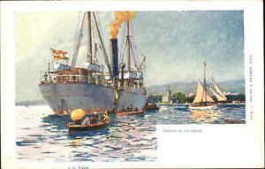 Steamship SS Tisza CALABRIA Italy - Phillipp & Kramer LII-6 c1905 Postcard