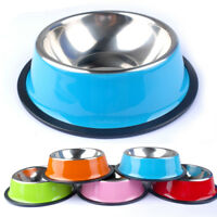 Dog Bowl Stainless Steel No Slip Pet Cat Puppy Food Water Dish 5 Colors XS-XXL