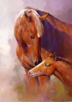 ZOPT731 100% two strong animal horses hand painted art OIL PAINTING on CANVAS