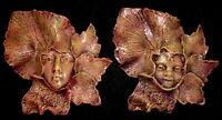 Pair Boy Girl Leaf Face Wall Plaque Home Garden Decor