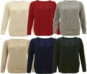 LADIES WOMEN ARAN CABLE KNIT KNITTED JUMPER STRETCH SWEATER PULLOVER TOP UK SIZE