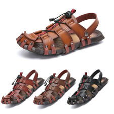 Mens Summer Beach Sandals Leather Closed Toe Shoes Sports Hiking Walking Shoes