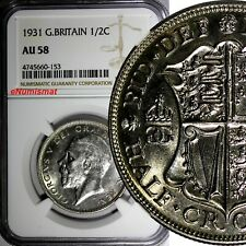 Great Britain George V Silver 1931 1/2 Crown NGC AU58  KM# 835