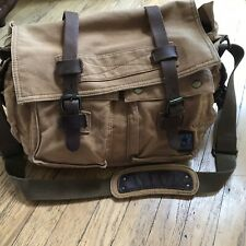 S C Cotton Leather And Canvas  Tobacco Colored Crossbody Messenger Bag Tote
