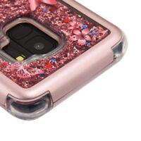 SAMSUNG GALAXY S9 G960 ROSE BUTTERFLY FLOWER QUICKSAND GLITTER TUFF CASE COVER