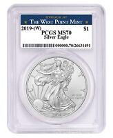 2019 1oz Silver Eagle PCGS MS70 West Point Label