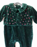 Nordstrom Baby N Collection Boys Romper Embroidered Green Velvet Jumpsuit 6M Vtg
