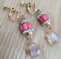 Pretty Glass Coral And Gold Tone Clip On Bling Earrings With New Clips